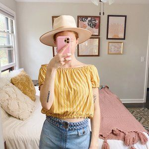 American Eagle Yellow Striped Off the Shoulder Top